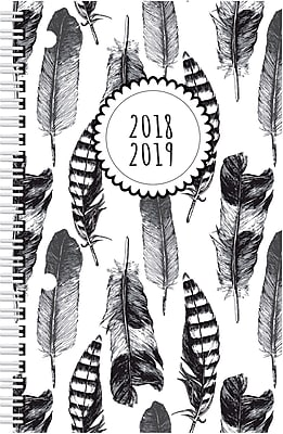 2018-2019 Brownline® Weekly Academic Planner, Feather Design, 13 Months, 8