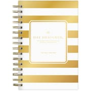 2018-2019 Day Designer for Blue Sky 5x8 Daily/Monthly Planner, Gold Stripe (102381)