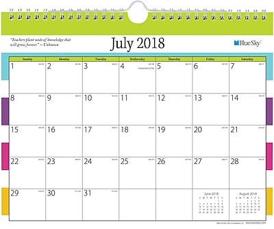 2018-2019 Blue Sky Academic Today's Teacher Wall Calendar, Stripes, 11