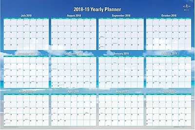 2018 2019 Blue Sky 36x24 Yearly Dry Erase Wall Calendar Endless