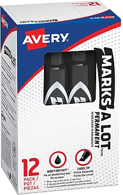 Avery Marks-A-Lot Desk-Style Permanent Markers, Chisel Tip, Black, 12/Pk (07888)
