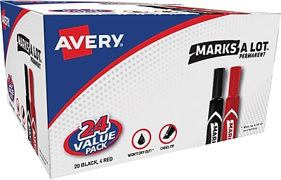 Avery Marks-A-Lot Permanent Marker, Regular Chisel Tip, 20 Black/4 Red (98187)