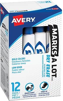 Avery Marks-A-Lot Desk-Style Dry Erase Markers, Chisel Tip, Blue, 12/Pk (24406)