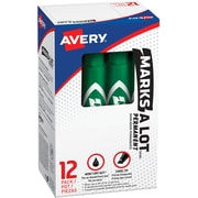 Avery Marks-A-Lot Desk-Style Permanent Markers, Chisel Tip, Green, 12/Pk (07885)