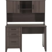 "Staples Chelmsford 47.60""W x 23.80""D Desk & Hutch, Greyed Cherry Finish"