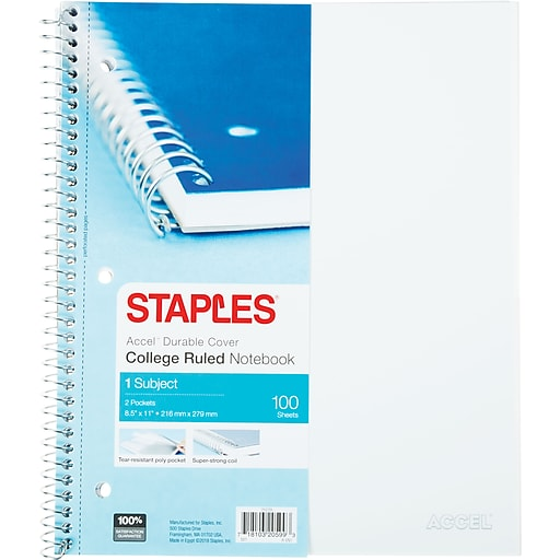 staples accel durable poly cover 1 subject notebook college ruled