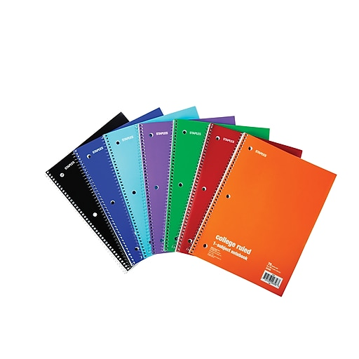 staples 1 subject notebook college ruled 8 x 10 1 2 assorted