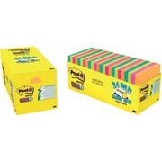 "Post-it® Super Sticky Notes, 3"" x 3"", Bora Bora and Rio de Janeiro, Assorted Colors, 24 Pads/Pack (654-24SSAUT-CP)"