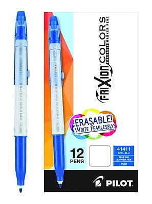Pilot FriXion Colors Erasable Marker Pen, Bold Point, Blue Ink, Box of 12