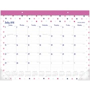 "AT-A-GLANCE® Carousel Dot Academic Monthly Desk Pad, 12 Months, July Start, 21 3/4"" x 15 1/2"" (D1112D-704A-19)"