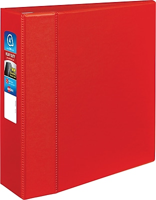 "Avery Heavy-Duty Binder, 4"" One Touch Rings, 780 Sheet Capacity, DuraHinge, Red (79584)"