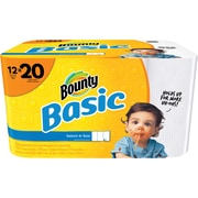 Bounty® Basic Select-A-Size Mega Roll Paper Towels, 119 Sheets/Roll, 12 Rolls/Case (92975)