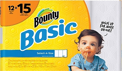 Bounty® Basic Select-A-Size™ Paper Towels, White, 1-Ply, 89 Sheets/Roll, 12 Large Rolls = 15 Regular Rolls