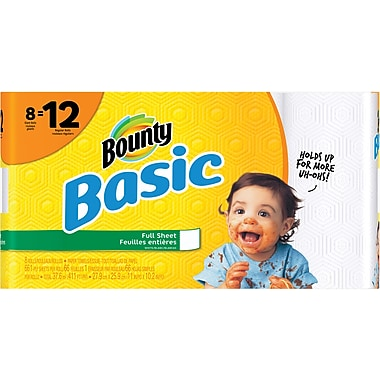 Bounty® Basic Giant Roll Paper Towels, 66 Sheets/Roll, 8 Rolls/Case (92966/84697)