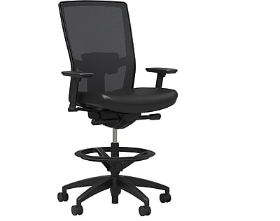 Workplace Series 500 Vinyl and Mesh Stool, Black, Adjustable Lumbar, 2D Arms, Synchro Tilt