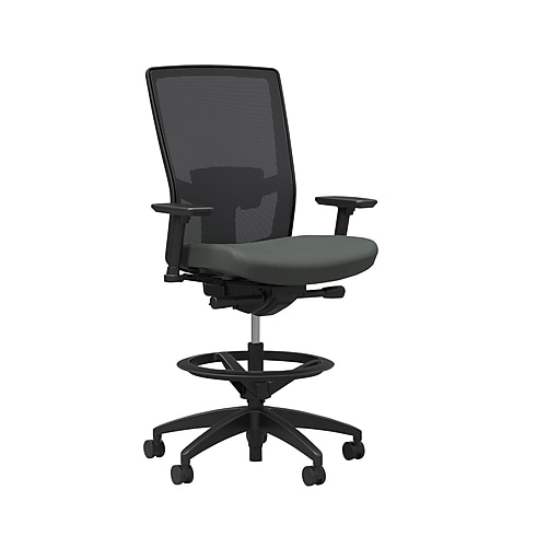 Workplace2.0 500 Series Mesh and Fabric Stool, Iron Ore, Adjustable Lumbar, 2D Arms, Synchro Tilt