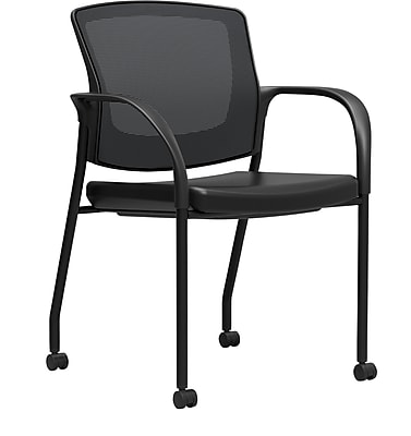 Workplace Series 500 Vinyl and Mesh Guest Chair with Fixed Arms, Black, Fully Assembled (51980)