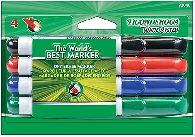 Dixon Ticonderoga® White System Dry Erase Chisel Point Markers, Assorted, 4/Pack