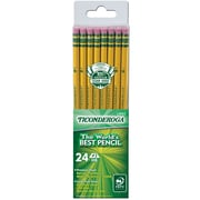 Dixon Ticonderoga® Woodcase Pencils, #2 Soft, Yellow Barrel, 24/Pack