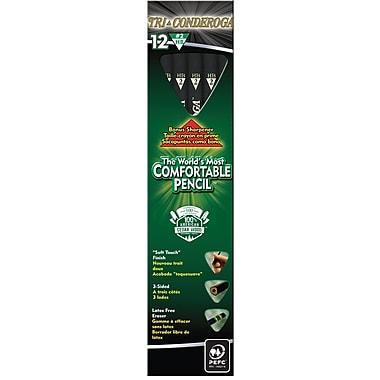 Dixon® Tri-Conderoga® Triangular Black Woodcase Pencils with Bonus Manual Pencils Sharpener, #2 Soft, Dozen