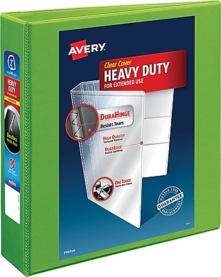 Avery Heavy-Duty EZD 2-Inch 3-Ring View Binder, Chartreuse (17596)