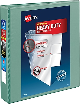 Avery® Heavy-Duty View Binder With One Touch EZD™ Ring, Sea Foam Green, 400-Sheet Capacity, 1 1/2