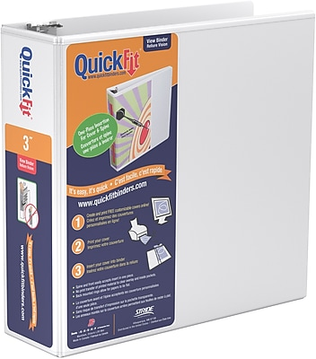 Stride® QuickFit™ View Binder with Round Rings, White, 600-Sheet Capacity, 3