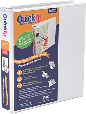 Stride® QuickFit™ View Binder with Round Rings, White, 275-Sheet Capacity, 1-1/2