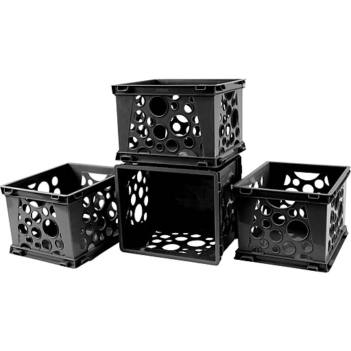 "Storex Mini Crate, 6""H x 7.75""L x 9""W, Black, 12/Set (STX61594U12S)"
