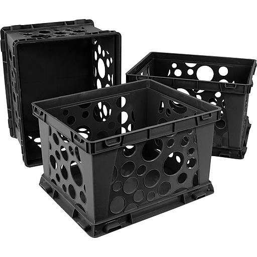 """Storex Mini Crate, 6""""H x 7.75""""L x 9""""W, Black, 3/Set (STX61594U03C)"""
