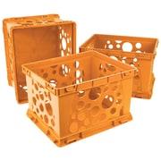 """Storex Mini Crate, 6""""H x 7.75""""L x 9""""W, Neon Orange, 3/Set (STX61582U03C)"""