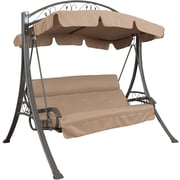 CorLiving™ Nantucket Polyester Patio Swing With Arched Canopy, Beige