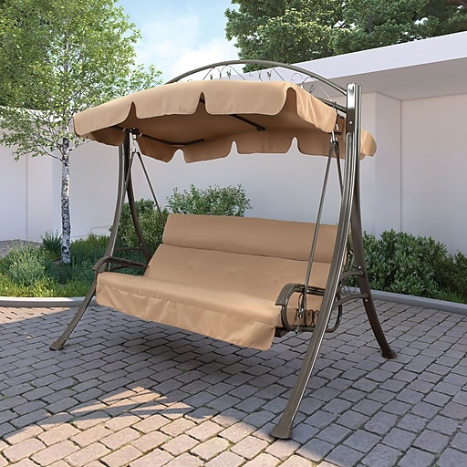 Corliving Nantucket Polyester Patio Swing With Arched Canopy Beige