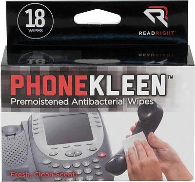 Advantus PhoneKleen Cleaning Wipes, 18 Pack