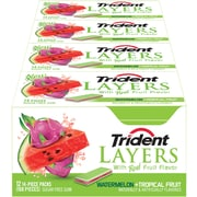Trident Layers Gum Watermelon & Tropical Fruit, 14-Piece, 12 Count (304-00053)