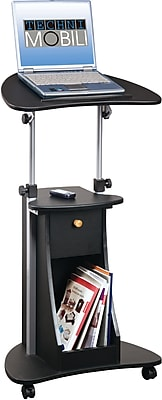 Techni Mobili Adjustable Deluxe Rolling Laptop Cart with Storage, Black