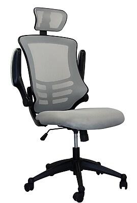 Techni Mobili Executive High Back Mesh Chair, Silver/Grey