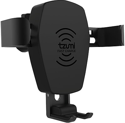Tzumi Gravity Mount for Auto Vents, Wireless Charger, Black