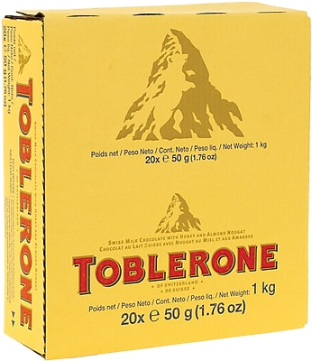 Toblerone Chocolate Bar, 1.76 oz. Bars, 20 Bars/Box