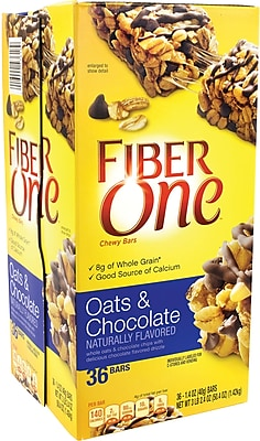 Fiber One Chewy Bars Oats and Chocolate, 1.4 oz, 36 Count
