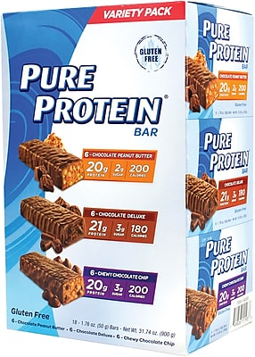 Pure Protein Bars Variety Pack, 1.76 oz, 18 Count