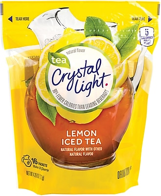 Crystal Light® On-The-Go Iced Tea Powdered Drink Mix, 4.26 oz. Packets, Lemon, 16/Box (220-00553)