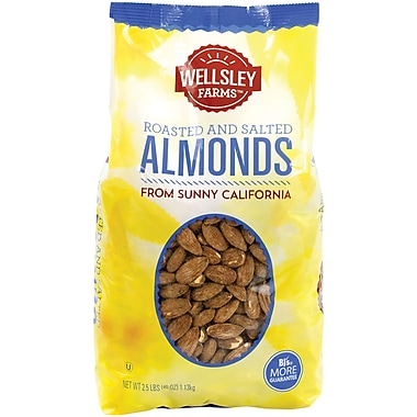 Wellsley Farms Roasted and Salted Almonds, 2.5 lb
