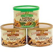 Superior Nut Salted Roasted Almonds and Whole Natural Almonds, 7.5 oz, 3 Pack