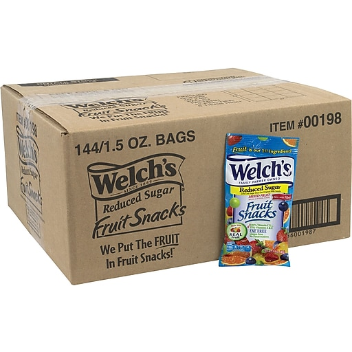 Welch's Reduced Sugar Mixed Fruit Snacks, 144 Count (00198)