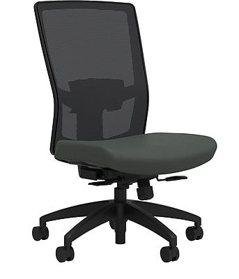 Workplace Series 500 Fabric Task Chair, Iron Ore, Adjustable Lumbar, Armless, Synchro Seat Slide, Partially Assembled
