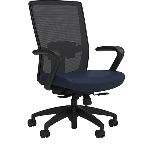 Workplace2.0™ 500 Series Fabric Task Chair, Navy, Adjustable Lumbar, Fixed Arms, Synchro Seat Slide