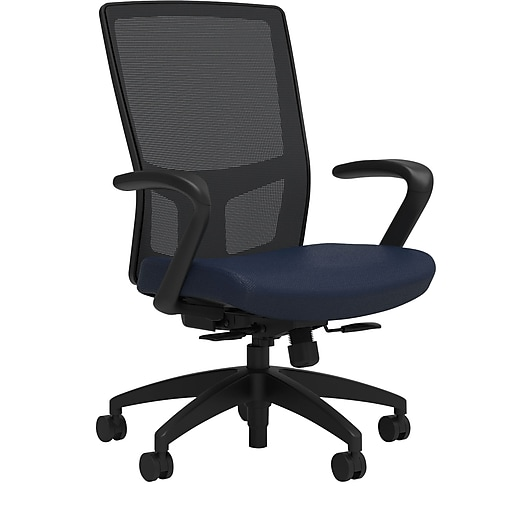 Workplace2.0™ 500 Series Fabric Task Chair, Navy, Integrated Lumbar, Fixed Arms, Synchro Seat Slide