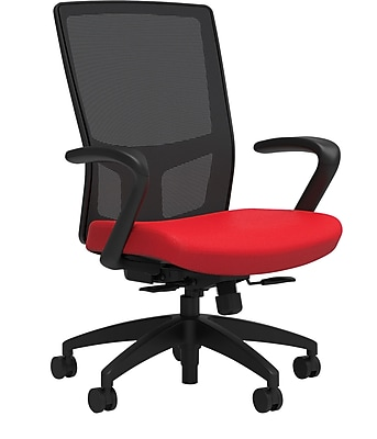 Workplace Series 500 Fabric Task Chair, Ruby Red, Integrated Lumbar, Fixed Arms, Synchro Seat Slide, Partially Assembled