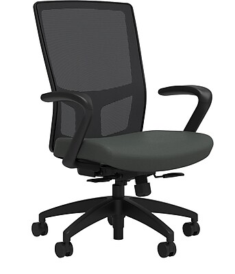 Workplace Series 500 Fabric Task Chair, Iron Ore, Integrated Lumbar, Fixed Arms, Synchro Seat Slide, Partially Assembled